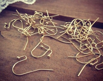 30 pcs 24K GOLD plated Brass Earring Blanks basic earrings in Gold  hang (S007)