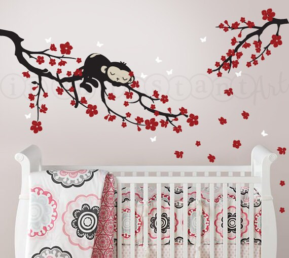 Cherry Blossom Branch Wall Decal with Sleeping Monkey   Monkey Wall Decal for Nursery, Kids, Childrens Room 054