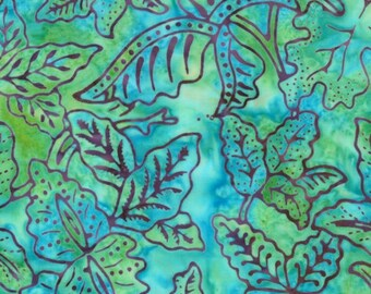 Moda Fabrics - Eat Your Fruits and Veggies Batik - Blueberry Leaves on Green-Choose Your Cut 1/2 or Full Yard