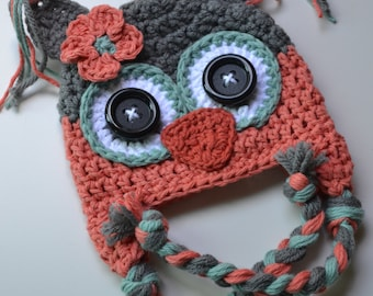 baby hat, crochet baby hat, girl hat, owl hat, crochet owl hat, crochet kids hat, coral teal and gray, coral and gray hat