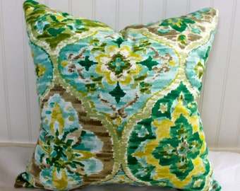 IN STOCK / Green, Yellow, Brown and Light Blue Medallion Pillow Cover / 18 X 18/ Same designer fabric both sides