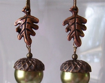 Light Green Acorn Earrings with Brass Caps and Antique Copper Oak Leaves