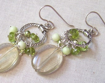 Lemon Quartz, Peridot, Chrysoprase, Pyrite and Sterling Silver Circle Earrings