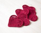 Set of 5 Crochet hearts applique Wedding decoration embellishment wine red Valentine's day