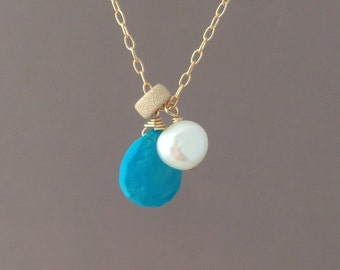 Turquoise and Pearl Necklace available in gold or silver