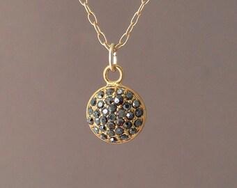 Gold Pave Brown Black Crystal Sparkling Necklace