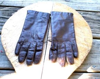 Vintage // Italian Leather and Rabbit Fur Lined Gloves // Brown Size 7 // Grunge Biker Glam