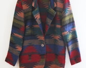RESERVED Do not buy - Medium 80s Navajo Aztec Southwestern Blazer Jacket - Pendleton Inspired