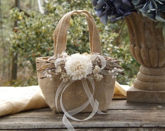 Burlap Flower Girl Basket with Sola Flower Twigs Rustic Woodland Wedding Burlap Bag ~Small~ See Item Details Tab for Size Made to Order