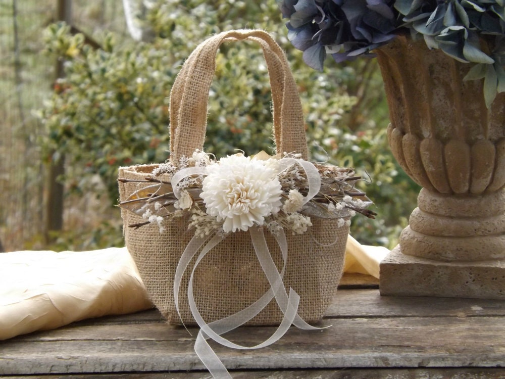 Flower Girl Baskets Burlap : Burlap flower girl basket with sola twigs rustic