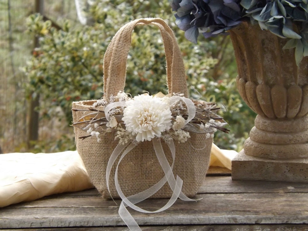 Rustic Burlap Flower Girl Baskets : Burlap flower girl basket with sola twigs rustic