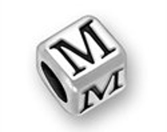 Sterling 4.5mm Rounded Alphabet Bead - Letter M