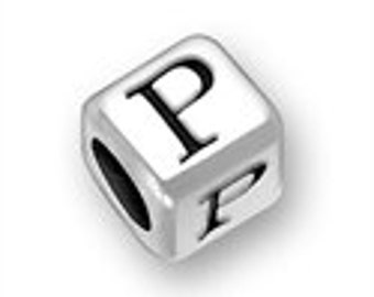 Sterling 4.5mm Rounded Alphabet Bead - Letter P