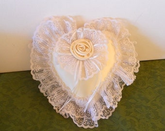 Vintage Musical Heart Pillow Wedding Pillow Satin Ring Bearer Pillow Love Story Accessory