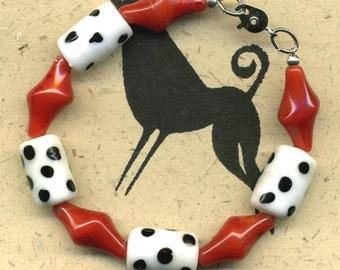 Red and Polka Dot 50s Retro Bracelet