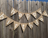 HAPPY BIRTHDAY BANNER, Birthday Decorations, Rustic Birthday Banner, Birthday Party Decor, Custom Birthday Banner, Burlap Birthday Banner