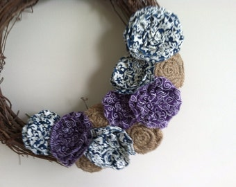 """Fall Rustic Natural Tan Burlap, Purple and Blue Fabric Removable Attachment for 15-18"""" Wreath"""