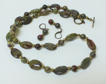 Dragon Blood Jasper Necklace and Earring Set.  A wonderful Green color