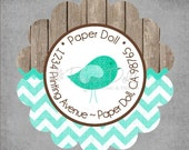 Return Address Labels - Rustic Wood & Teal Chevron with Whimsical Bird Scalloped Round Stickers - Personalized Custom - in a Tin Set of 45.