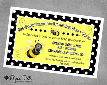 Birthday Invitations - Busy Little Bee - Printed Invitations - Kids Party - Black - Yellow - Bumble Bee - Birthday Party - Celebration