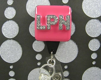 HOT LPN (Licensed Practitional Nurse) - Retractable Badge Reel, Id Badge Clip - Designer Badge Holder - Nurse Jewelry - Id Badges - LPN