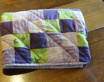 Tinkerbell Patchwork Flannel and Minky Baby Quilt.  So Soft and Warm, Quilt in Beautiful Lavenders, Purples, Lime Green and Ivory