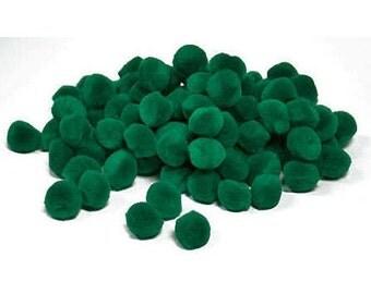 """1 1/2"""" Christmas Green Pom Poms (15pc)"""
