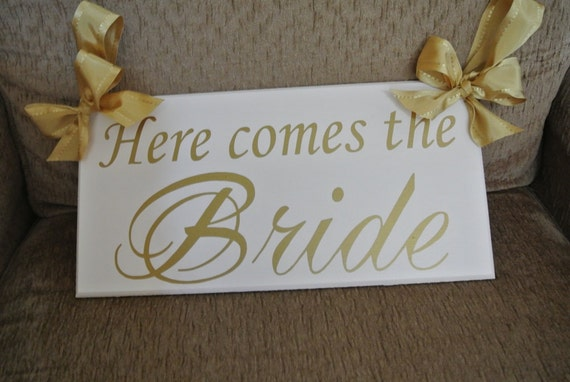 Here comes the Bride sign, Wedding Signage, Gold, Wedding Photo prop