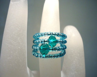 Ring Crystal and Light Teal Sea Green Rocaille Seed Bead Memory Wire Expandable by JulieDeeleyJewellery on Etsy
