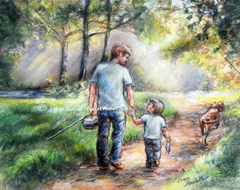 """Fishing,  Son, sports,""""Fishing With my Dad"""" Laurie Shanholtzer, Canvas art Print, Choose size, Father's Day,"""