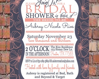 Bridal Shower Invitation-Pink, Blue, Flowers