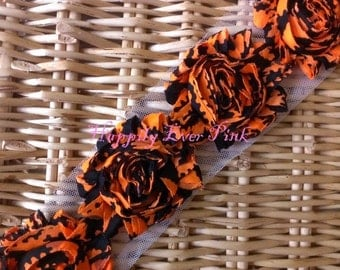 1 YD., Funky Halloween, 1 Yd. Shabby Flower Trim, Craft Supplies, Chiffon Rosettes, Halloween, Spider Web, Boutique Flowers, LIMITED EDITION