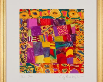 Diptych. Fine Art Framed Art Quilt//Yellow Purple Red