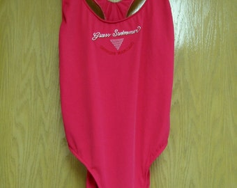 vintage hot pink 'Guess by Georges Marciano' one piece swimsuit . . . . . size 13/14 . . . . . gently worn