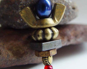 "Guardian Angel ""Angels on Duty"" 911 Tribute PIN, Ruby Red, Royal Blue & Antique Bronze Wing Nut"