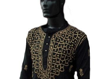 Viking tunic unique gifts on Fathers day for man gypsy clothing hippie boho designer kurta pattern indian ethnic shirt cotton black dress