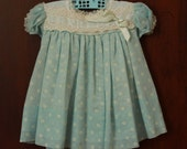 Reserved for Marie ***  Vintage Light Blue Sheer Overlay Dress with Yoke Collar - size 24 months - Easter