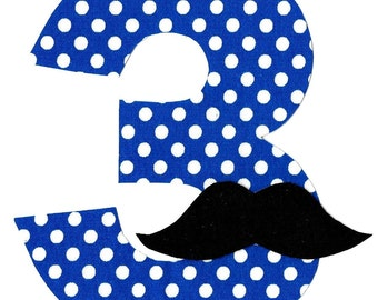 DIY boy number with mustache iron on applique
