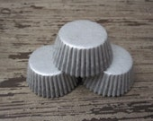 60 MINI Gray/Silver Solid Cupcake Liners