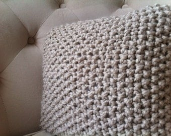 Knitted Pillow Cover / Decorative Pillow Cover / Hygge Throw Pillow
