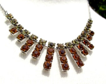 Crystal necklace. Orange and citrine sparkling glass necklace. Excellent vintage condition. Evas collections