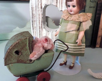 Tiny Vintage Miniature Dolly Buggy and Miniature Teddy Darling for Display with Antique Dolls