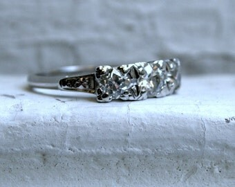 Antique 14K White Gold Diamond Three Stone Engagement Ring - 1.00ct.