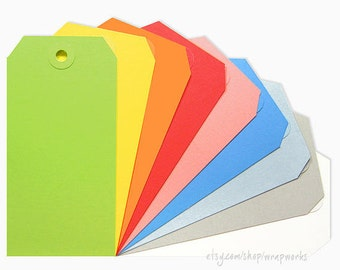 "100 No. 5 Shipping Media Tags ""Large"" (4 3/4 x 2 3/8) with Matching Eyelets - Choose your colors!"