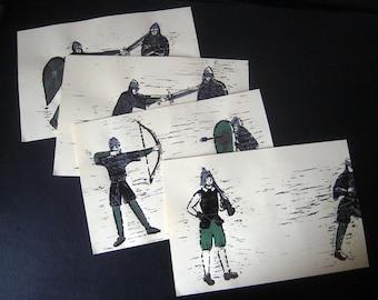 Set of 4 hand-printed illustrations