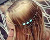 boho head chain, chain headband,turquoise headband, metal headband, unique headband
