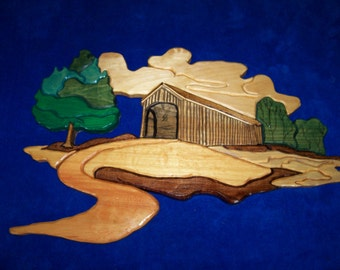 Wooden Covered Bridge Wall hanging