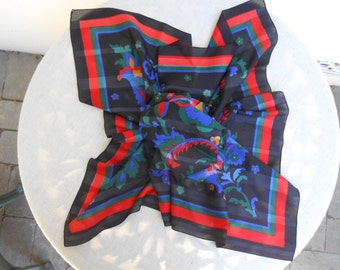 Vintage Black Scarf with Bright Basic Colors of Flowers.