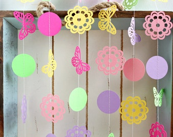 Pink, Yellow, Purple and Green Butterfly Doily 10 ft Paper Garland- Wedding, Birthday, Baby Shower, Party Decorations, Garden Party