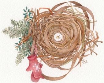 watercolor painting original mitten evergreen nest